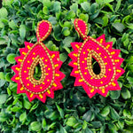 Teramasu Hot Pink Yellow Beaded Teardrop Earrings