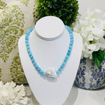 Teramasu Baroque Pearl Blue Agate Necklace