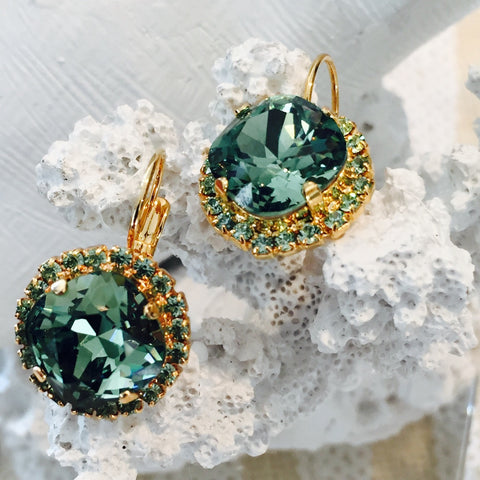 Green Swarovski Crystal Lever Back Gold Plated Round Earrings