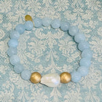 Blue Agate Baroque Pearl Stretch Bracelet