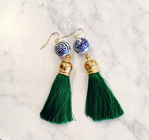 Blue White Hand Painted Porcelain Green Silk Tassel
