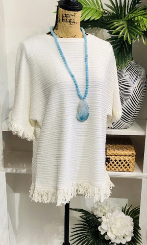 Dreamy Cream Fringe Top with Fringe Hem and Sleeves