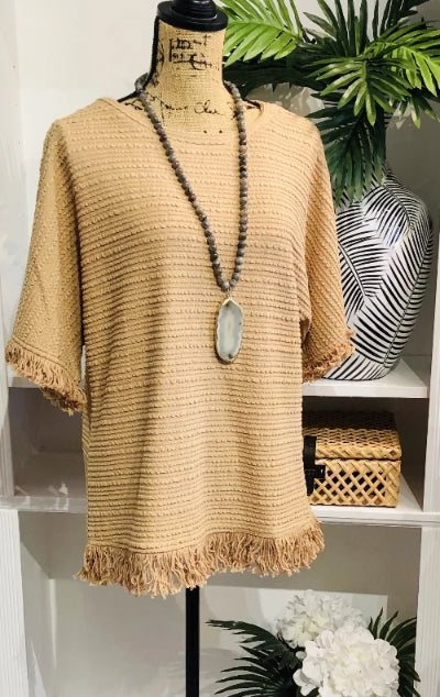 Dreamy Camel Fringe Top with Fringe Hem and Sleeves