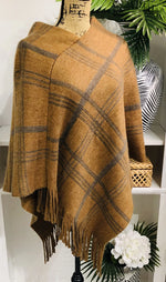 Camel and Grey-Brown Plaid Cape with Fringe Hem