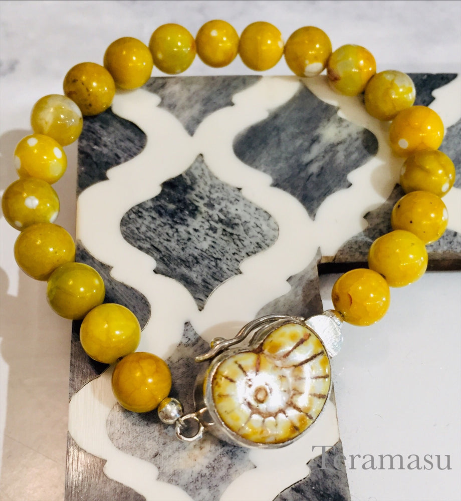 Sea Shell Box Clasp Yellow Agate Stone Bracelet