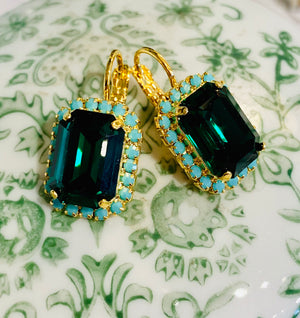 Teramasu Emerald Crystal Turquoise Rhinestone Gold Plated Leverback Earrings