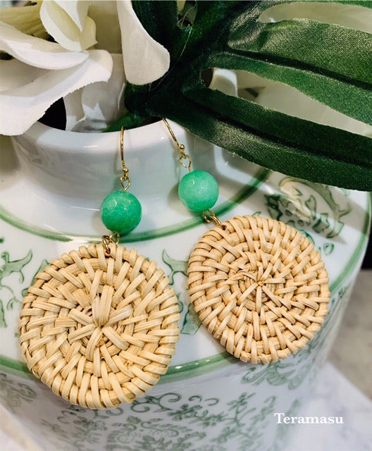 Teramasu Green Agate Wicker Earrings