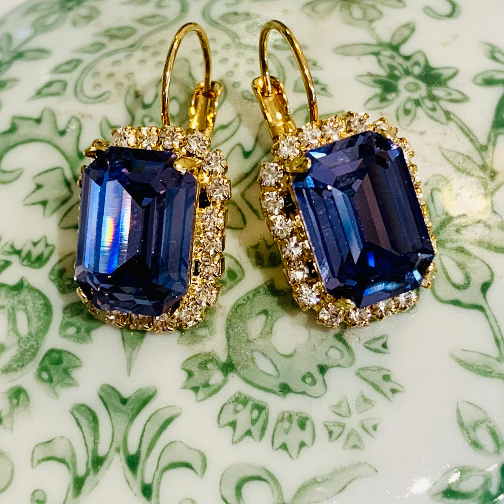 Teramasu Purple Crystal with Rhinestones Leverback Gold Plated Earrings