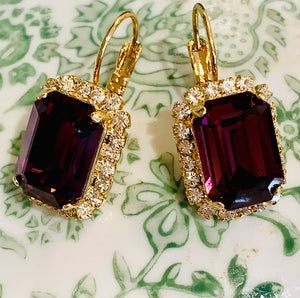 Teramasu Purple Amethyst Crystal with Rhinestones Leverback Gold Plated Earrings