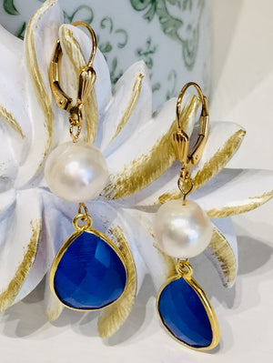 Teramasu Pearl Blue Crystal Earrings