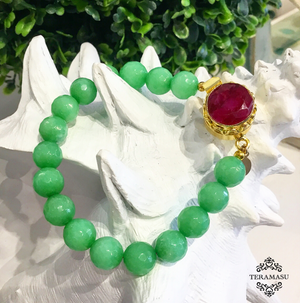 Teramasu Faceted Green Jade and One-of-a-Kind Red Stone Box Clasp Bracelet