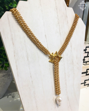 Teramasu Gold Pagoda Lariat Necklace with Baroque Pearl