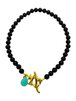 Teramasu Black Onyx and Gold Pagoda with Aqua Chalcedony Necklace