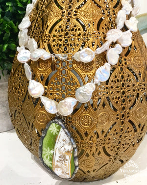 Teramasu Pearl Necklace with Green, White, & Gold Pottery Pendant