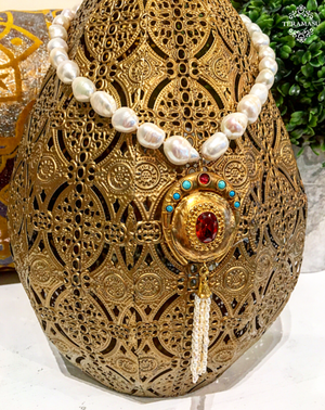 Teramasu Freshwater Pearl and One-of-a-Kind Gold with Red & Blue Stones Pendant Necklace