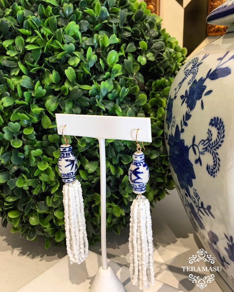 Teramasu Blue and White Hand Painted Porcelain White Tassel Earrings