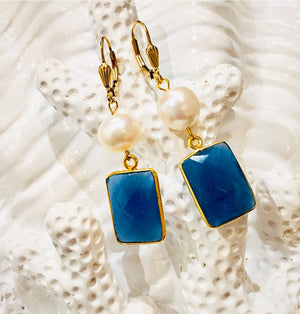 Teramasu Sapphire Blue Chalcedony and Pearl Leverback Earrings