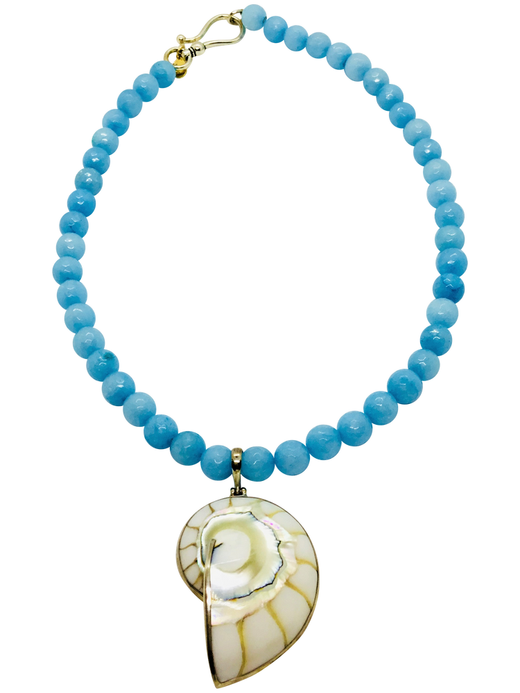 Teramasu Faceted Blue Dyed Jade and White Shell Pendant Necklace