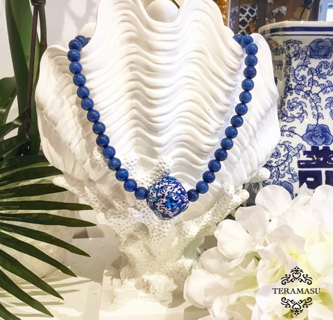 Teramasu Sodalite and One-of-a-Kind Hand-painted Tumbled Glass Necklace