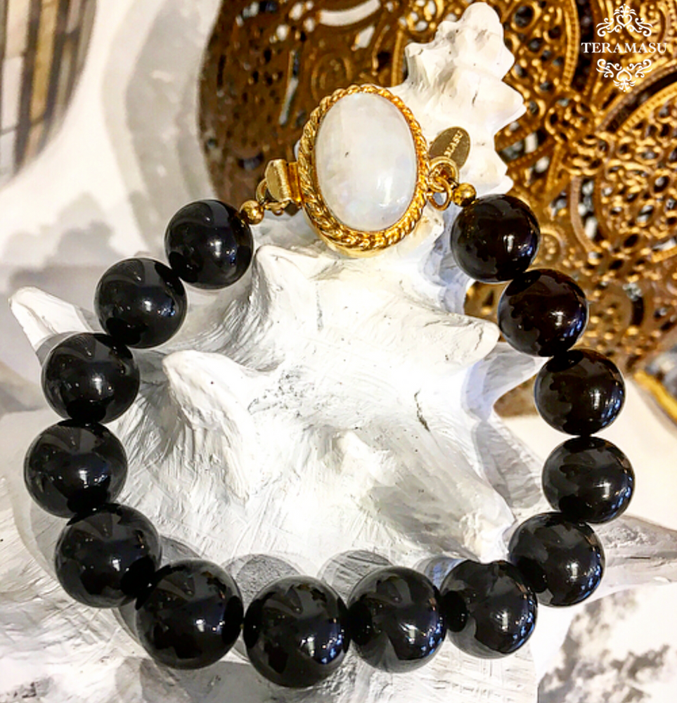 Teramasu Black Onyx and Moonstone Box Clasp Bracelet