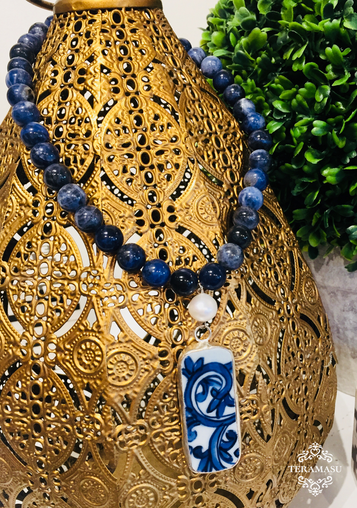 Teramasu Sodalite with Freshwater Pearl and One-of-a-Kind Rectangle Blue & White Porcelain Necklace