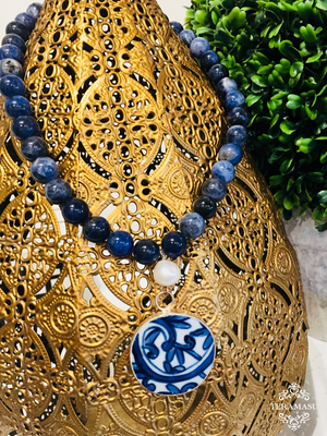Teramasu Sodalite with Freshwater Pearl and One-of-a-Kind Circle Blue & White Porcelain Pendant Necklace