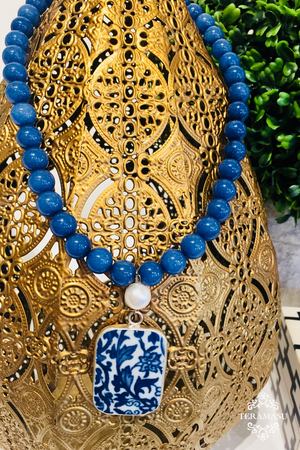 Teramasu Blue Agate with Freshwater Pearl and One-of-a-Kind Square Blue & White Porcelain Necklace