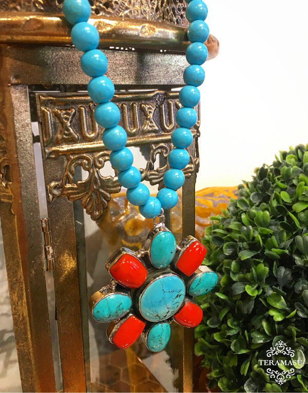 Teramasu Blue Howlite Necklace with One-of-a-Kind Turquoise Floral Pendant