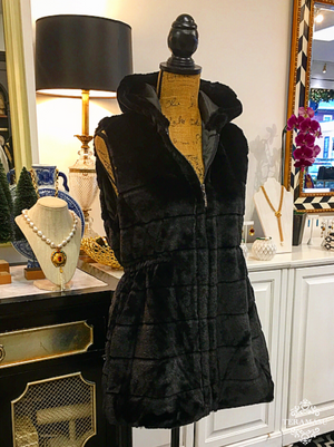Black Faux Fur Vest with Hood and Cinched Waist