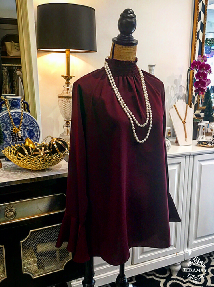 Burgundy Scrunch Turtleneck Swing Top with High-Low Cut and Bell Sleeves