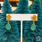 Teramasu Hibiscus Flower with Aqua Green Chalcedony Earrings