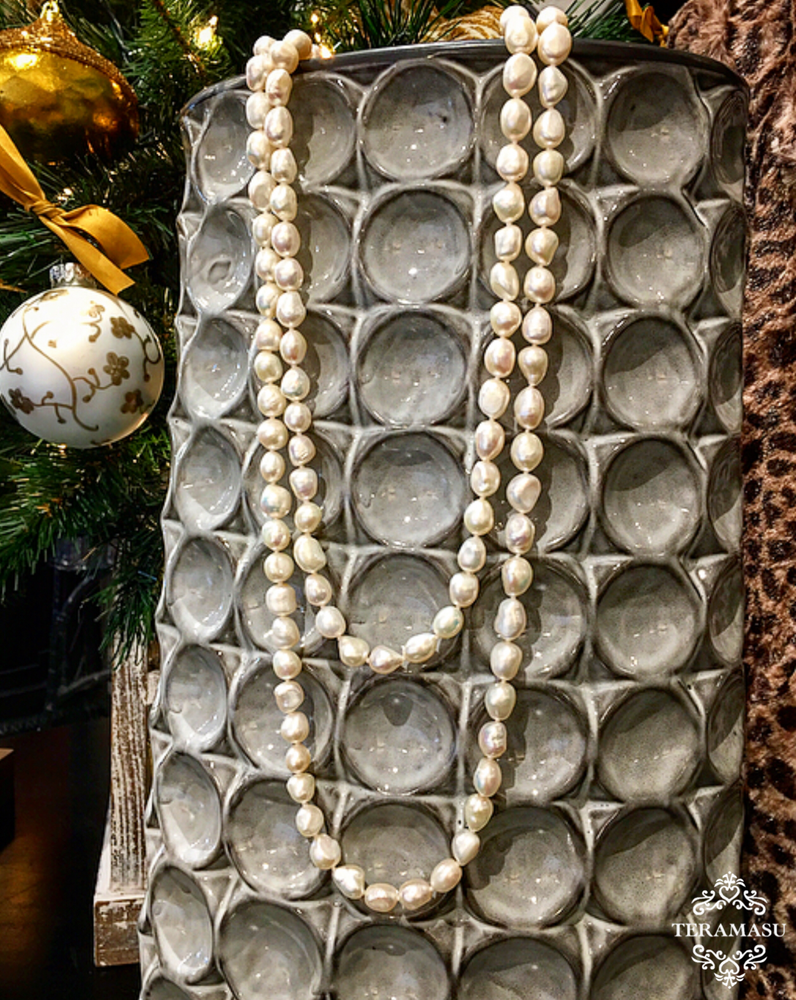 Teramasu Freshwater Pearls on Knotted Silk Long Layered Necklace