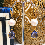 Teramasu Lolite and Freshwater Pearl Drop Earrings