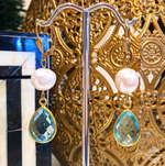 Teramasu Blue Topaz and Freshwater Pearl Drop Earrings