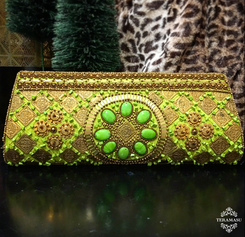 Bright Green Clutch with Gold and Green Beaded Design