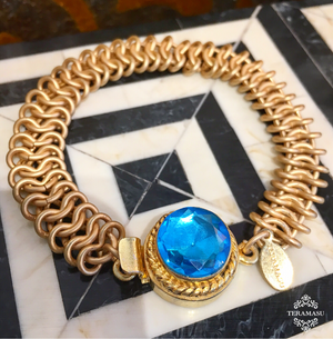 Teramasu Gold Chain and One of a Kind Blue Crystal Stone Box Clasp Bracelet