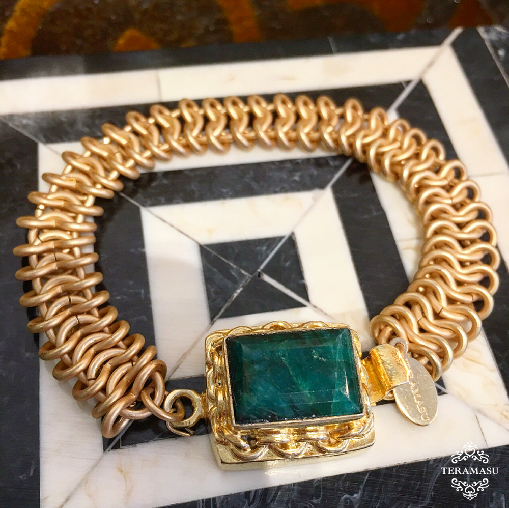 Teramasu Gold Chain and One of a Kind Hunter Green Gemstone Box Clasp Bracelet