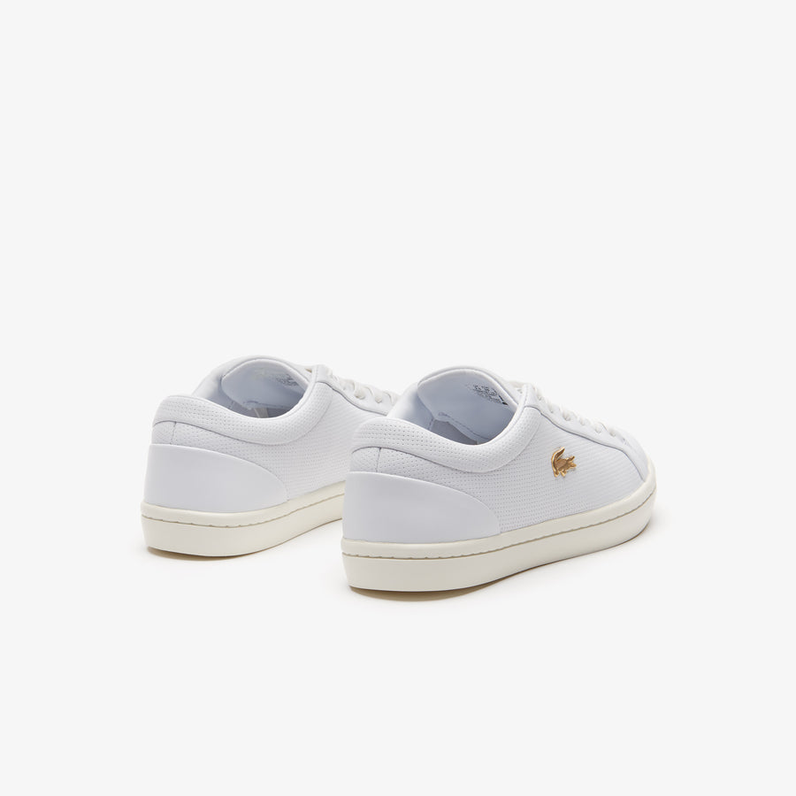 Women's Straightset Nappa Leather Trainers--White/Off White