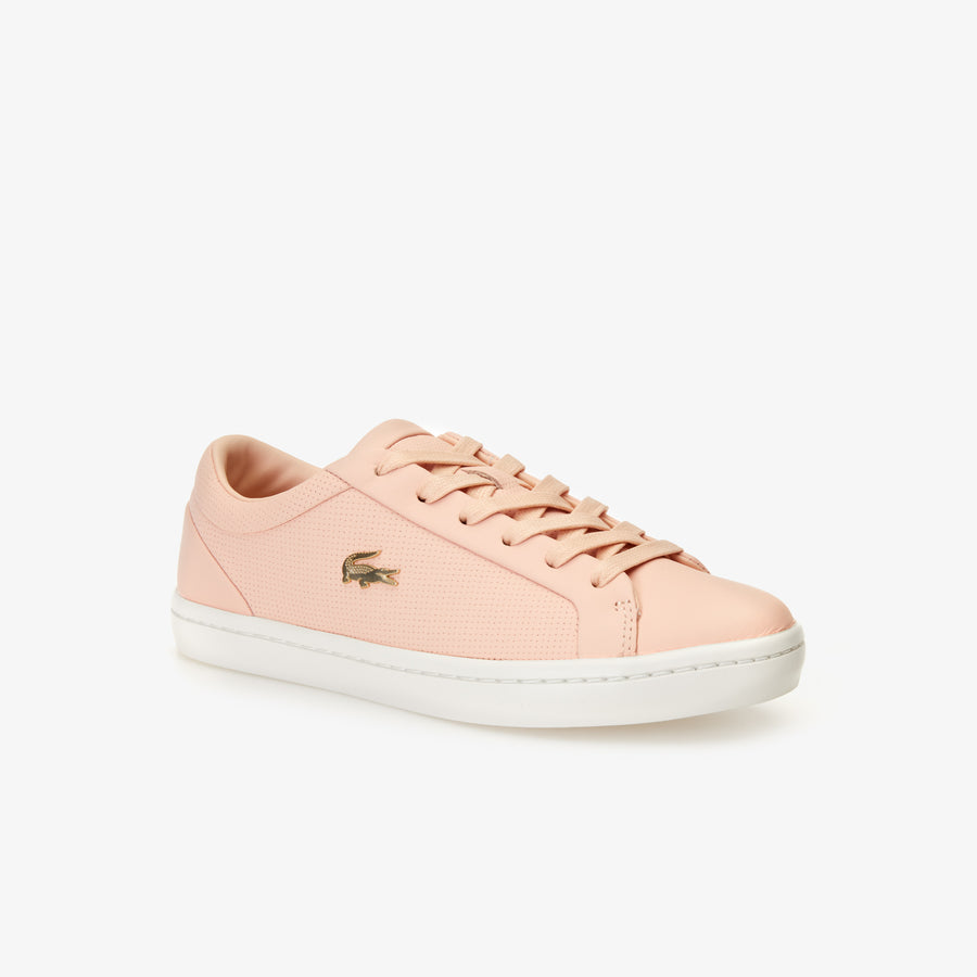 Women's Straightset Nappa Leather Trainers--Natural/Off White