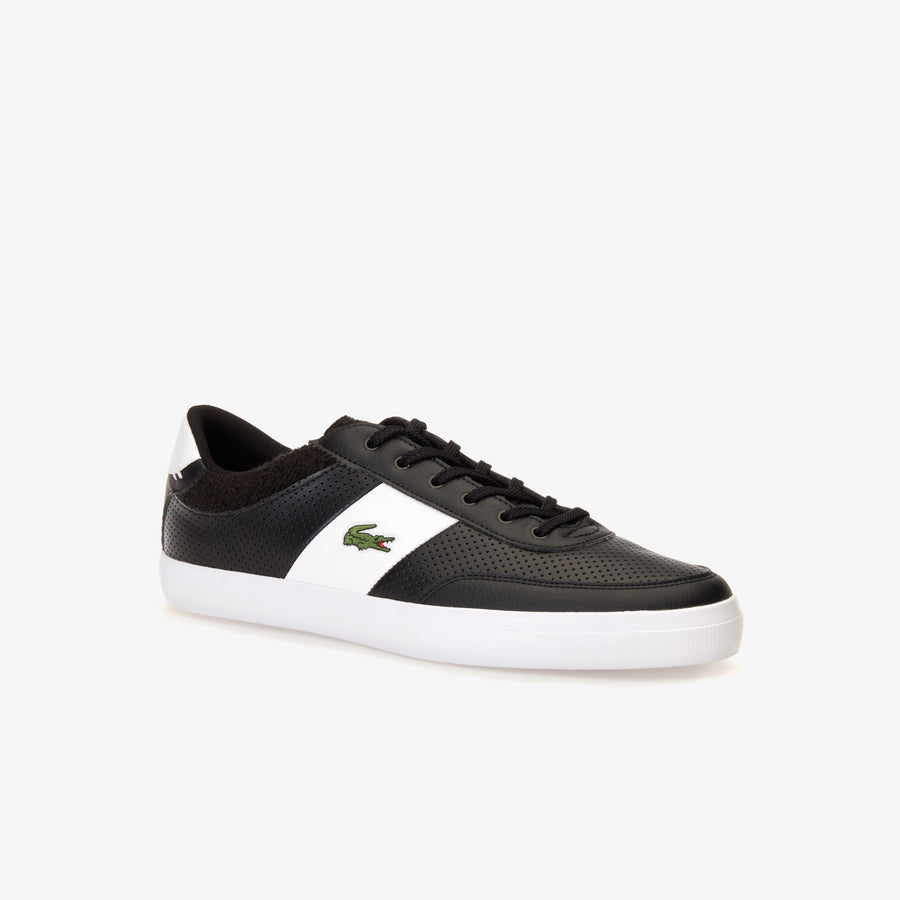 Men's Court-Master Leather Trainers--Black/White