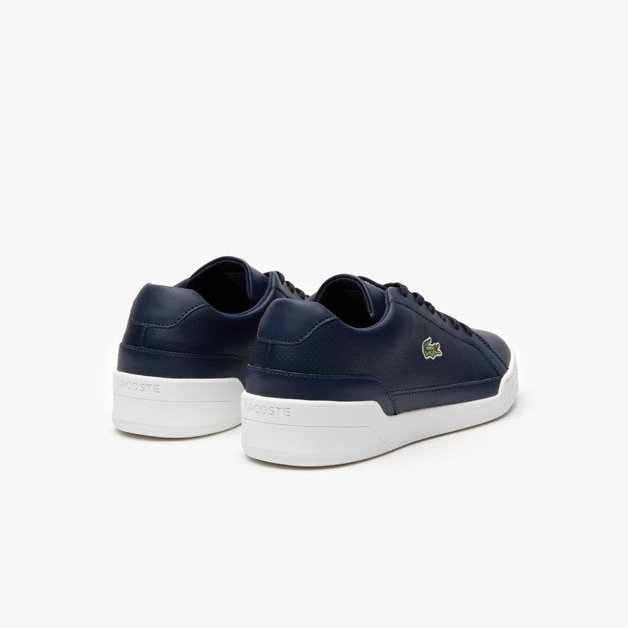 Men's Challenge Leather and Synthetic Trainers--Navy Blue/White