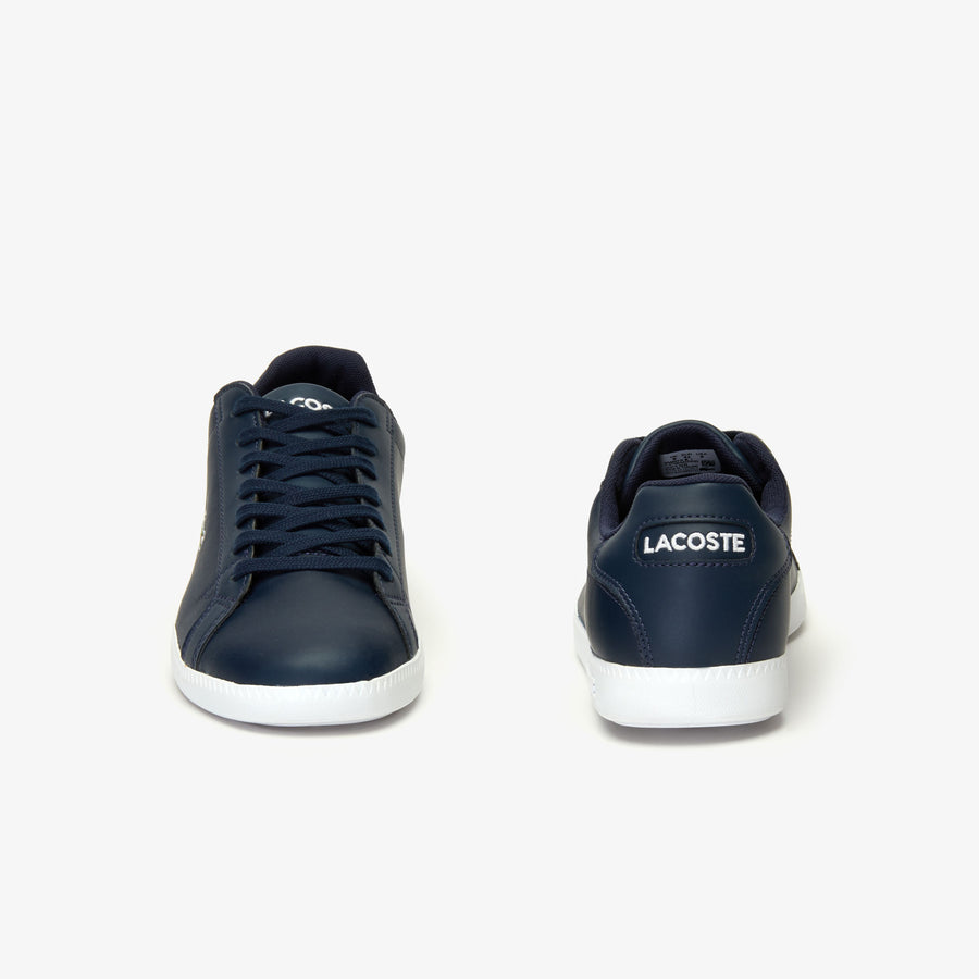Men's Graduate Leather Trainers--Navy Blue/White