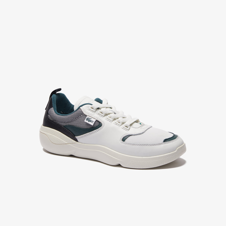 Men's Wildcard Leather Trainers--Off White/Dark Green