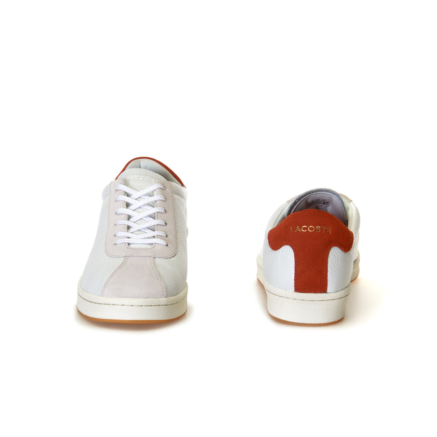 Men's Masters Leather Sneakers--Off White/Red