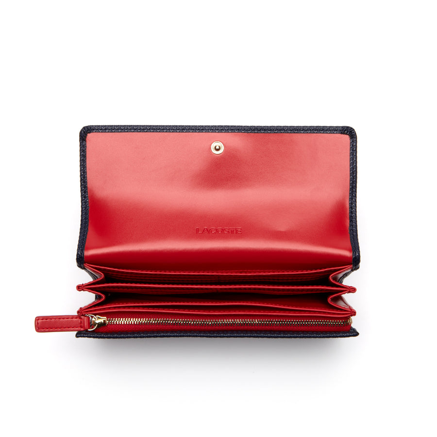 Women's Chantaco all-in-one wallet in leather--High Risk Red