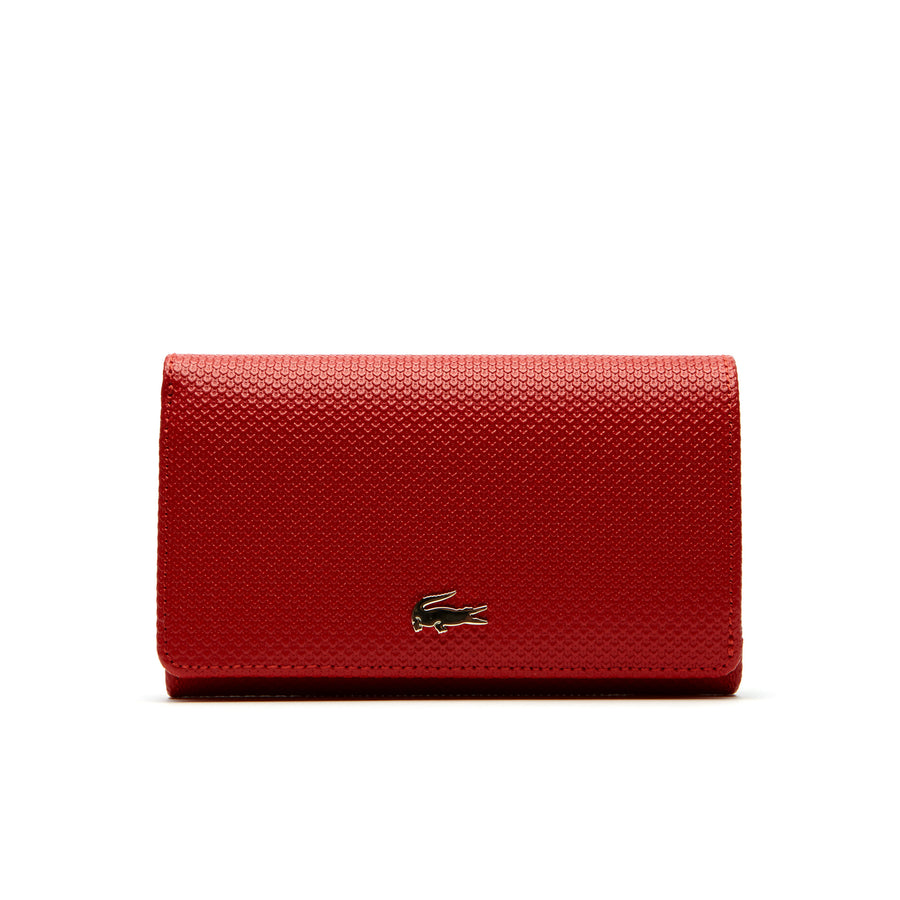 Women's Chantaco Bicolor Piqué Leather Six Card Wallet--High Risk Red