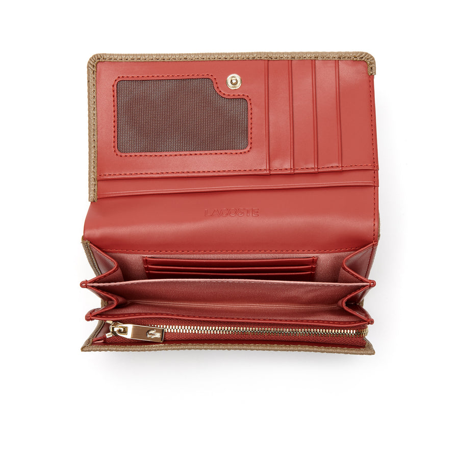 Women's Chantaco Bicolor Piqué Leather Six Card Wallet--Amphora