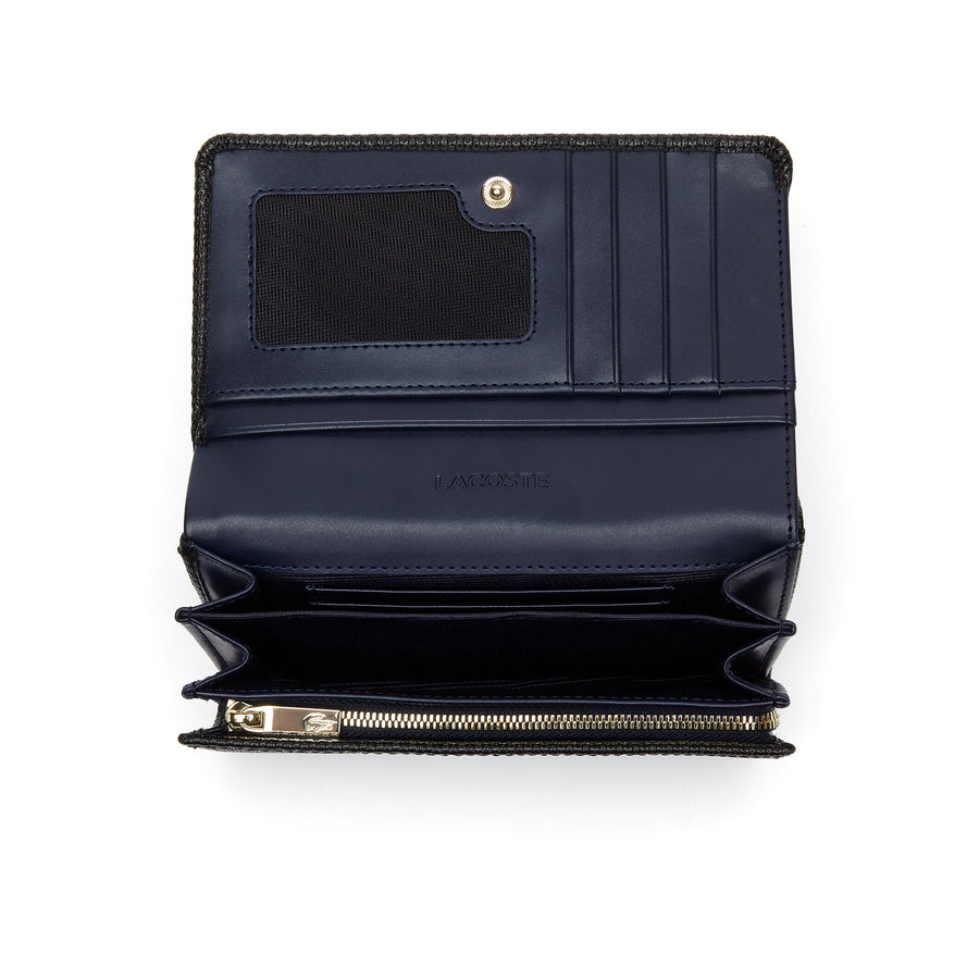 Women's Chantaco Bicolor Piqué Leather Six Card Wallet--Black