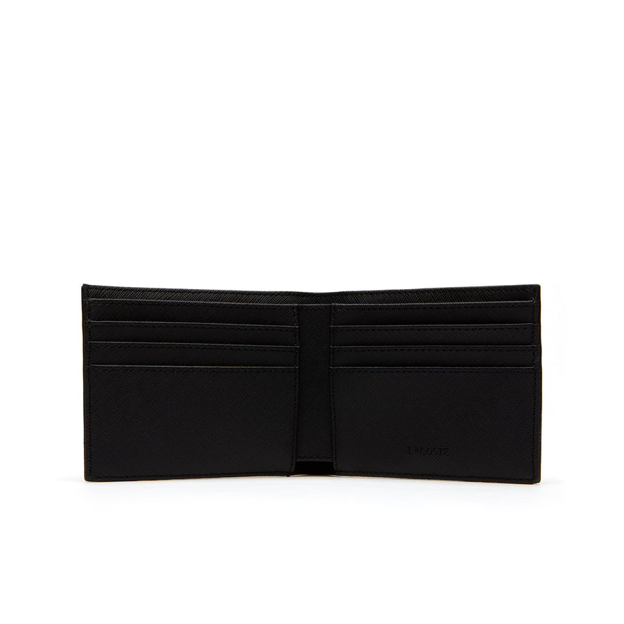 Men's Classic Petit Piqué Six Card Wallet--Black
