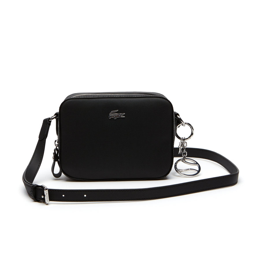Women's Daily Classic Coated Piqué Canvas Square Crossover Bag--Black
